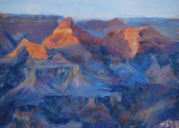 Grand Canyon Greeting Card featuring the pastel Grand Canyon Study by Billie Colson