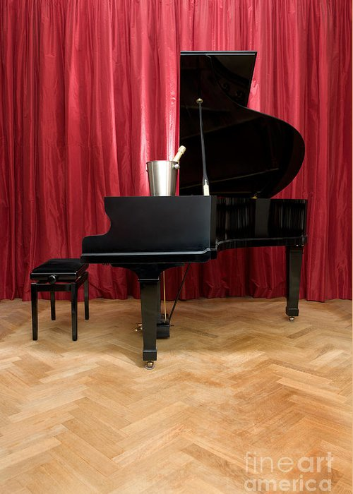 Luxury Greeting Card featuring the photograph Grand Piano With A Champagne Cooler by Corepics