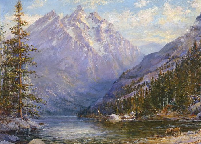 Grand Tetons Greeting Card featuring the painting Grand Tetons And Jenny Lake Tryptych Center by Lewis A Ramsey