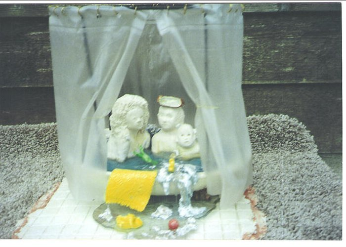 Kids Greeting Card featuring the ceramic art Grandkids In The Tub by Doris Lindsey