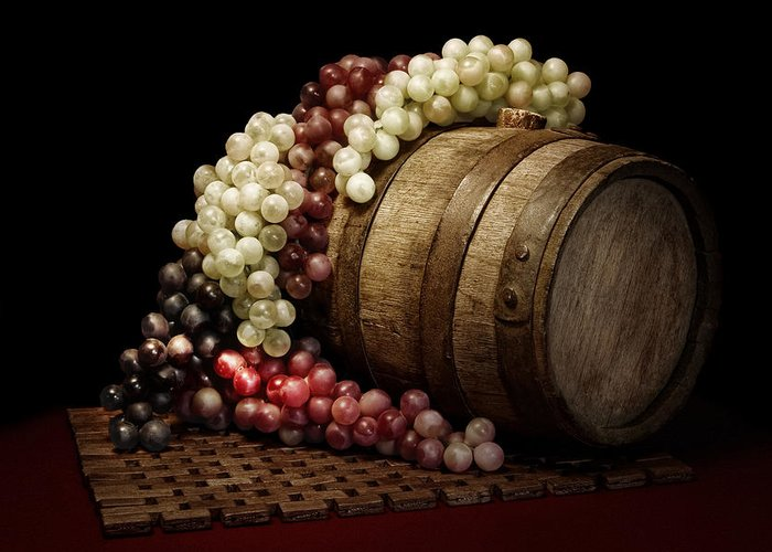 Art Greeting Card featuring the photograph Grapes And Wine Barrel by Tom Mc Nemar