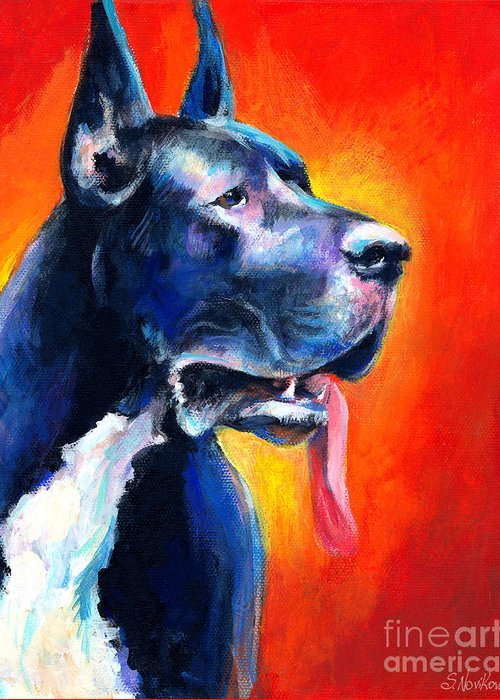 Black Great Dane Greeting Card featuring the painting Great Dane Dog Portrait by Svetlana Novikova