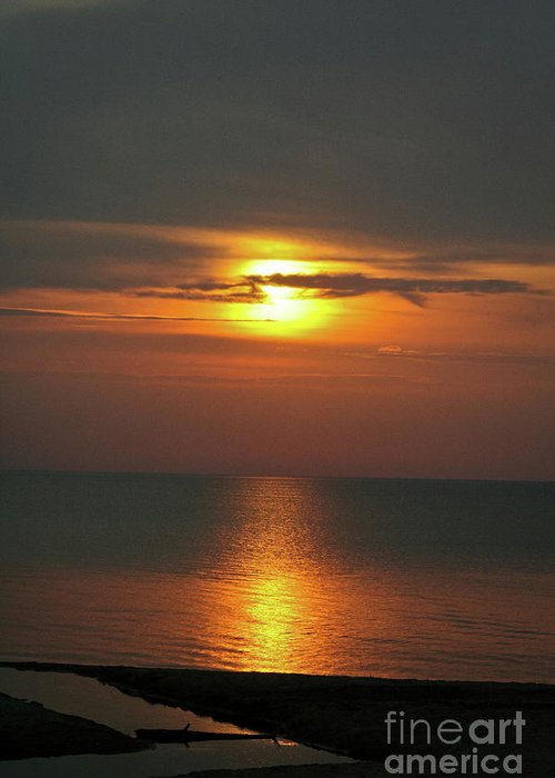 Great Lakes Sunset And Beach Greeting Card by Brent Parks