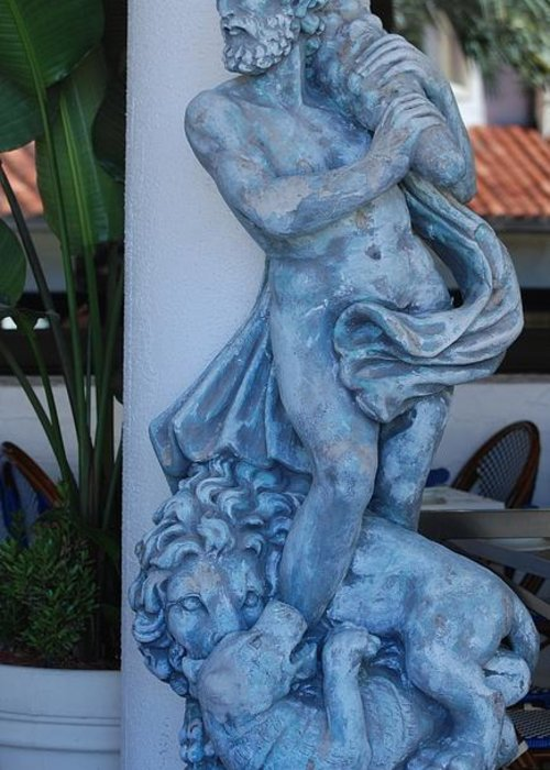 Statue Greeting Card featuring the sculpture Greek Dude And Lion In Blue by Rob Hans