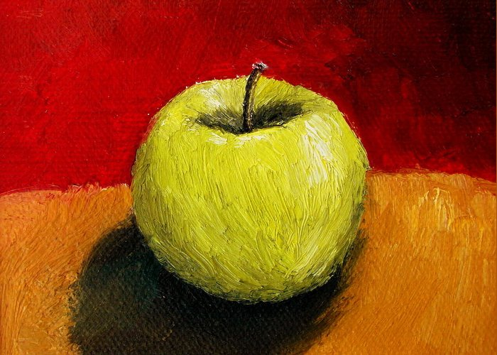 Apple Greeting Card featuring the painting Green Apple With Red And Gold by Michelle Calkins