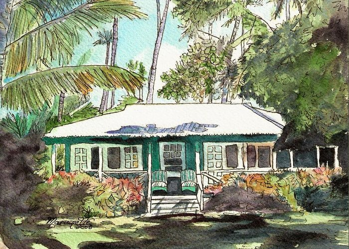 Cottage Greeting Card featuring the painting Green Cottage by Marionette Taboniar