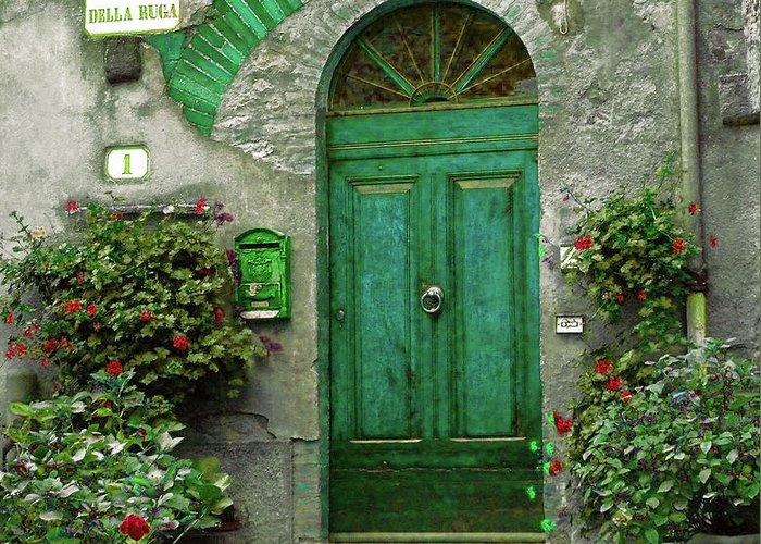Green Door Greeting Card featuring the photograph Green Door by Karen Lewis