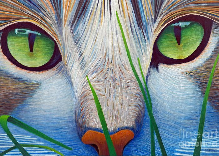 Cat Greeting Card featuring the painting Green Eyes by Brian Commerford