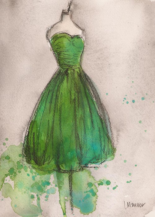 Green Greeting Card featuring the painting Green Strapless Dress by Lauren Maurer