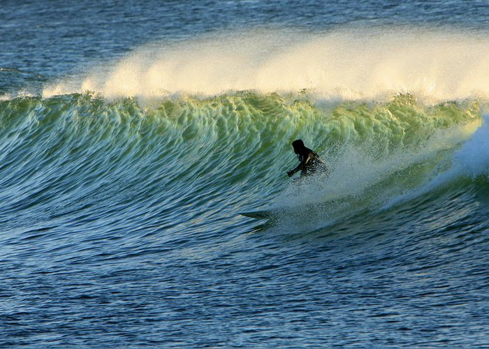 Surf Greeting Card featuring the photograph Green Wall Surfer by Mike Coverdale