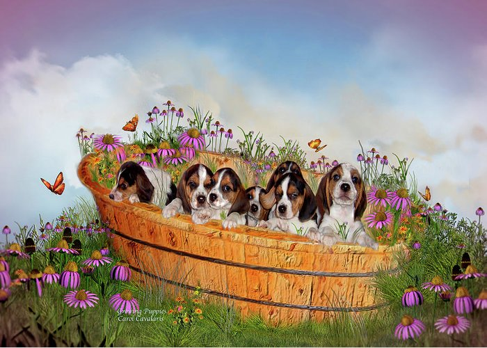 Beagle Puppies Greeting Card featuring the mixed media Growing Puppies by Carol Cavalaris