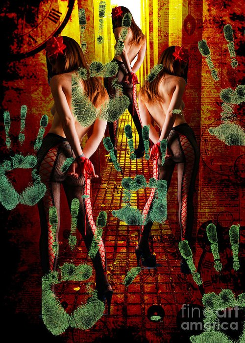 Human Trafficking Greeting Card featuring the mixed media Grubby Littel Hands Enslave by Tammera Malicki-Wong