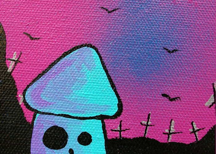 Zombie Greeting Card featuring the mixed media Gruff Zombie Mushroom by Jera Sky