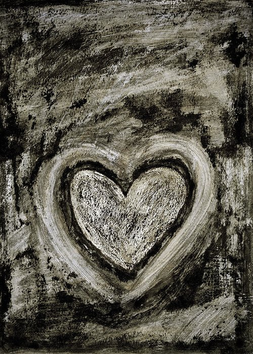 Abstract Art Greeting Card featuring the painting Grunge Heart by Frank Tschakert