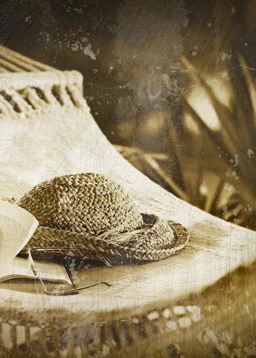 Garden Greeting Card featuring the photograph Grunge Photo Of Hammock And Book by Sandra Cunningham