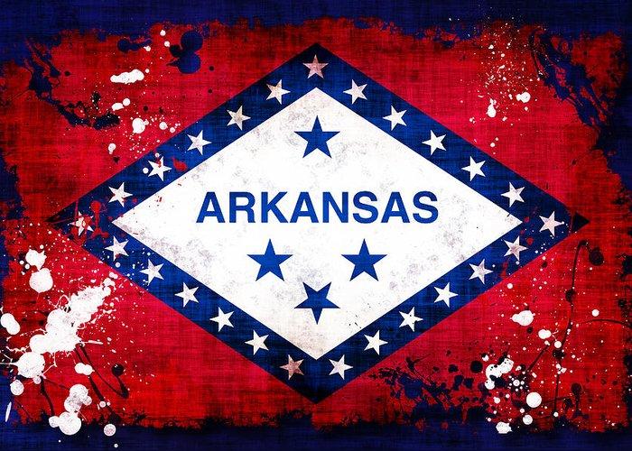 Arkansas Greeting Card featuring the photograph Grunge Style Arkansas Flag by David G Paul