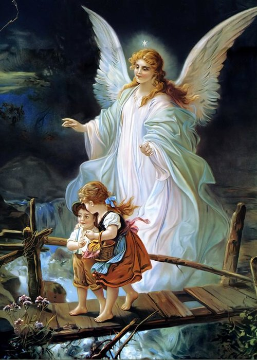Guardian Angel Greeting Card featuring the painting Guardian Angel And Children Crossing Bridge by Lindberg Heilige Schutzengel