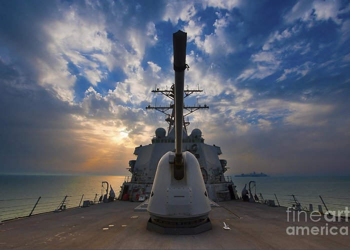 Uss Higgins Greeting Card featuring the photograph Guided-missile Destroyer Uss Higgins by Stocktrek Images