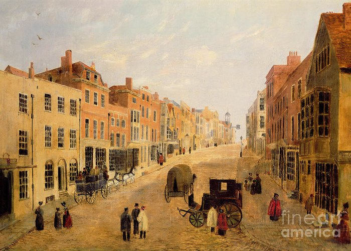 Guildford Greeting Card featuring the painting Guildford High Street by English School