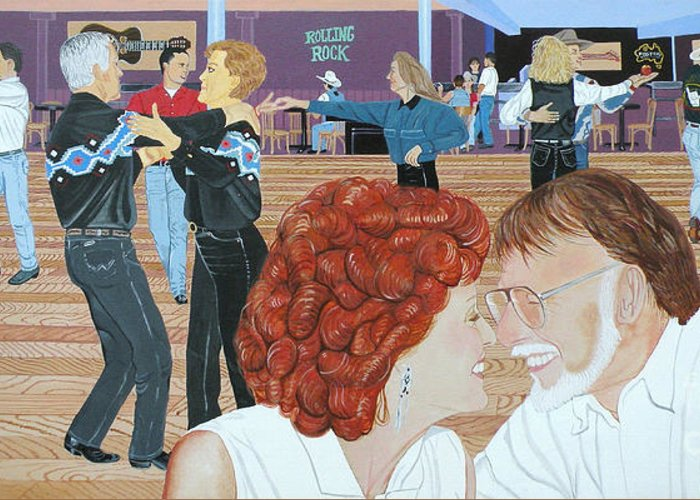 Dance Greeting Card featuring the painting Guitars And Cadillacs Omaha by Christine Belt