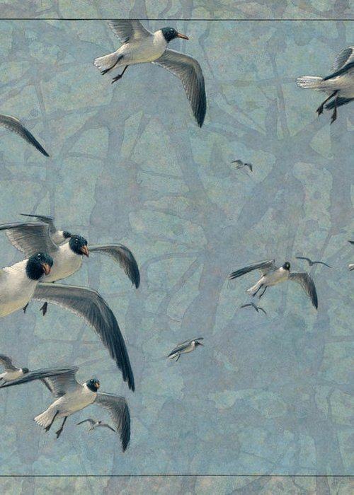 Gulls Greeting Card featuring the painting Gulls by James W Johnson