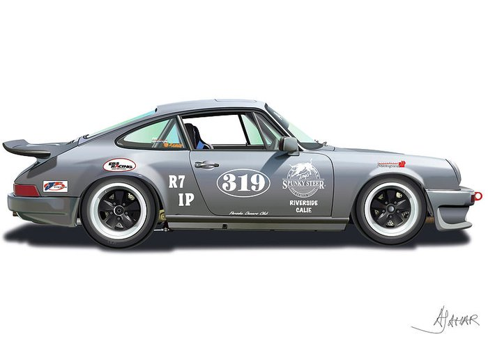 Porsche Owners Club Greeting Card featuring the digital art Gunter Lennartz by Alain Jamar