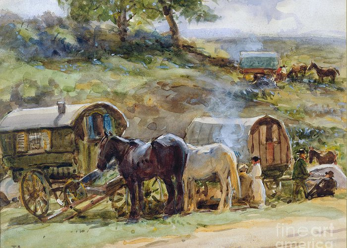 Gypsy Greeting Card featuring the painting Gypsy Encampment by John Atkinson