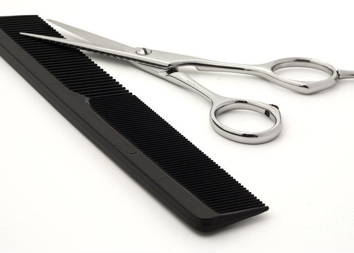 Shears Greeting Card featuring the photograph Hair Scissors And Comb by Blink Images