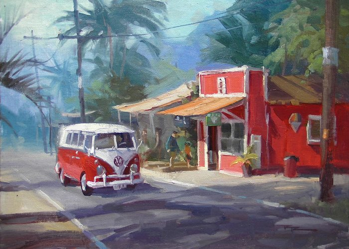 Hawaii Greeting Card featuring the painting Haleiwa by Richard Robinson