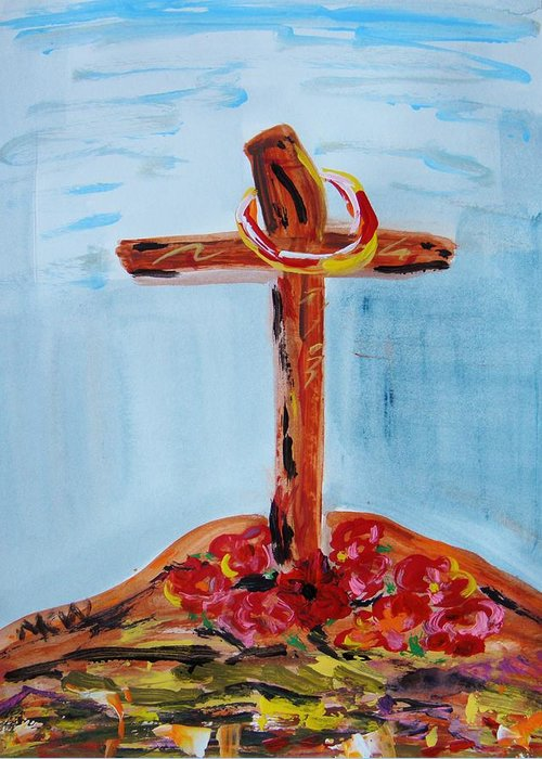 Jesus Greeting Card featuring the painting Hallowed Garden by Mary Carol Williams
