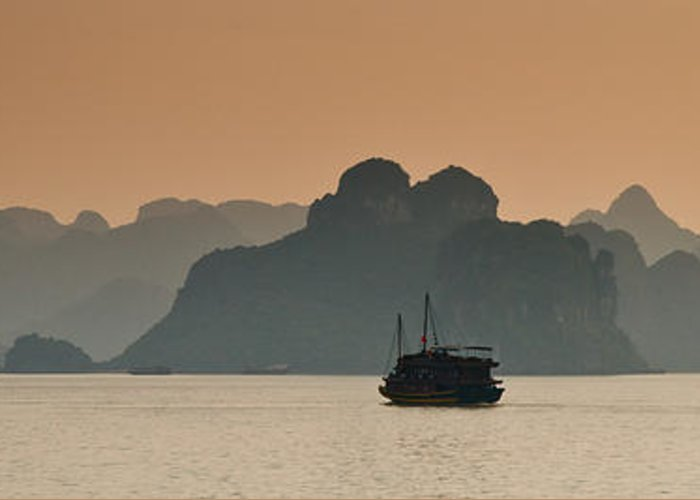 Landscape Greeting Card featuring the photograph Halong Bay by Peter Verdnik