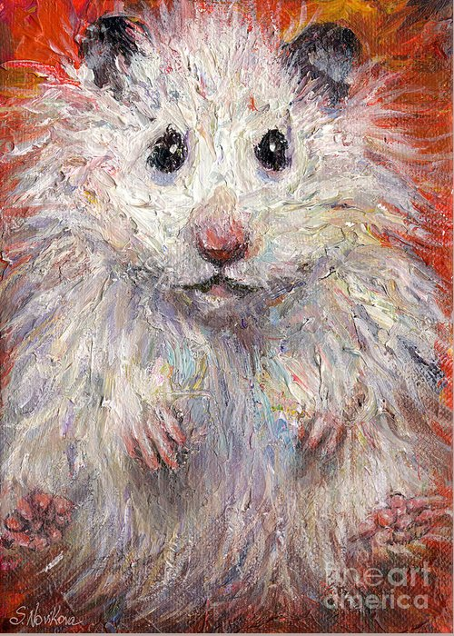 Hamster Greeting Card featuring the painting Hamster Painting by Svetlana Novikova