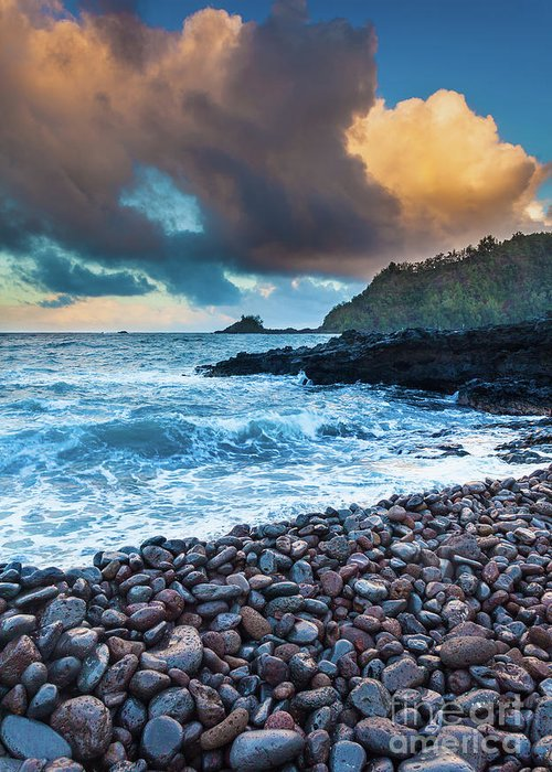America Greeting Card featuring the photograph Hana Bay Pebble Beach by Inge Johnsson