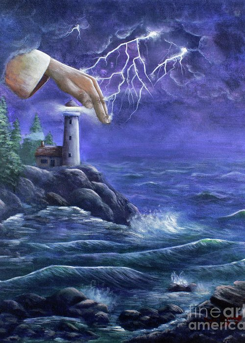 Landscape Greeting Card featuring the painting Hand Of Protection by Kristi Roberts