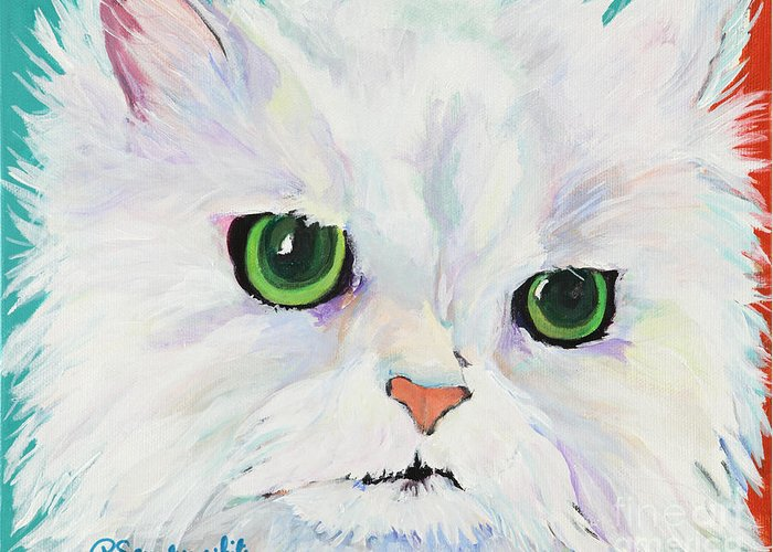 Acrylic Greeting Card featuring the painting Hannah by Pat Saunders-White