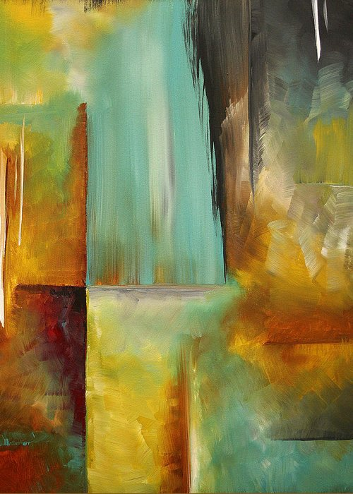 Abstract Greeting Card featuring the painting Haphazardous By Madart by Megan Duncanson