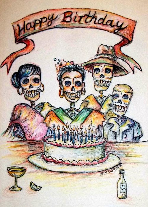 Greeting Cards Greeting Card featuring the painting Happy Birthday Woman Skull by Heather Calderon