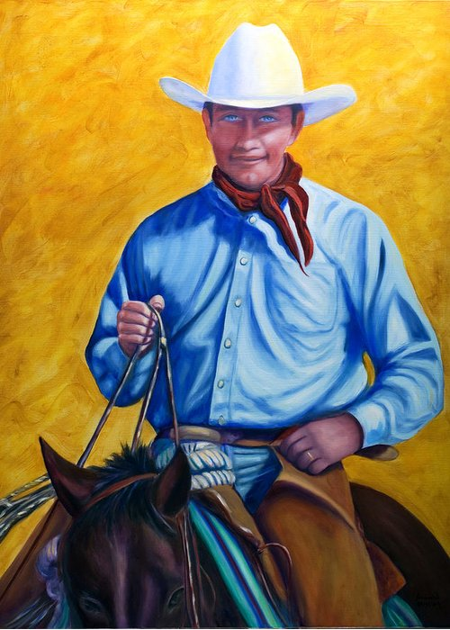 Cowboy Greeting Card featuring the painting Happy Trails by Shannon Grissom