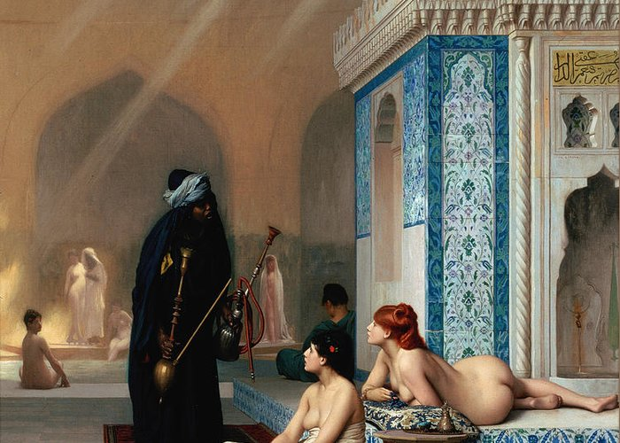 U.s.pd: The Paintings Greeting Card featuring the painting Harem Pool by Pg Reproductions