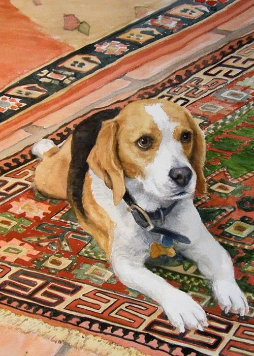 Akc Greeting Card featuring the painting Harley by Debra Jones