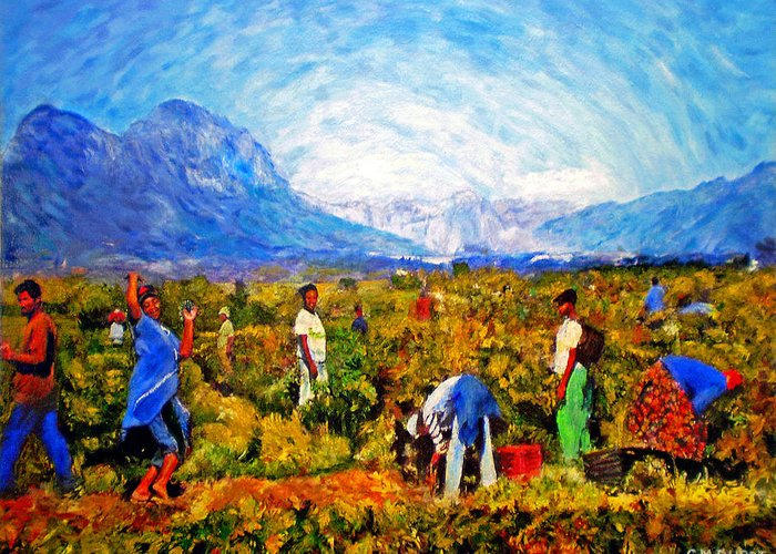 Vineyard Greeting Card featuring the painting Harvest Time by Michael Durst