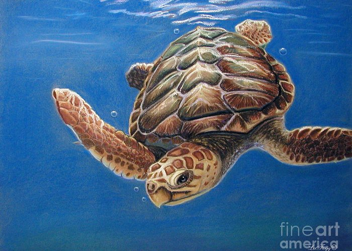 Sea Turtle Greeting Card featuring the pastel Hatties Release by Deb LaFogg-Docherty