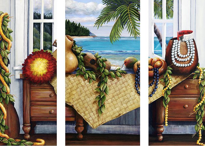 Acrylic Greeting Card featuring the painting Hawaiian Still Life With Haleiwa On My Mind by Sandra Blazel - Printscapes