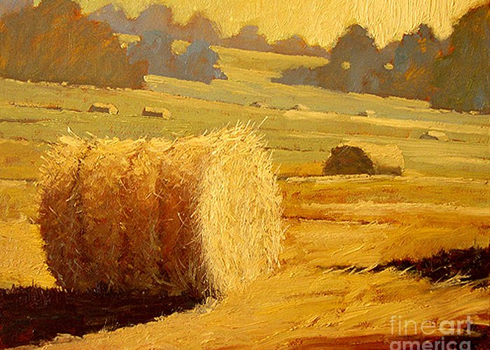 Hay Greeting Card featuring the painting Hay Bales Of Bordeaux by Robert Lewis
