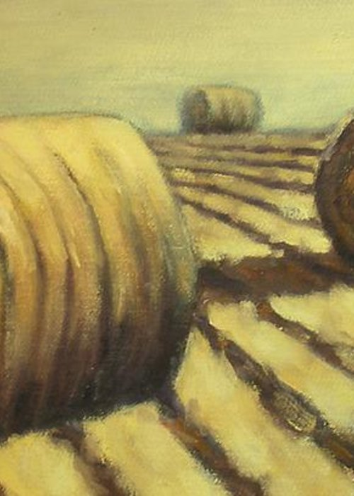 Art Sale Greeting Card featuring the painting Haybales by Jaylynn Johnson