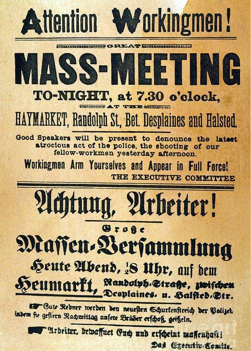 1886 Greeting Card featuring the photograph Haymarket Handbill, 1886 by Granger