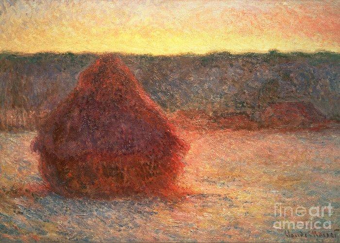 Haystacks At Sunset Greeting Card featuring the painting Haystacks At Sunset by Claude Monet