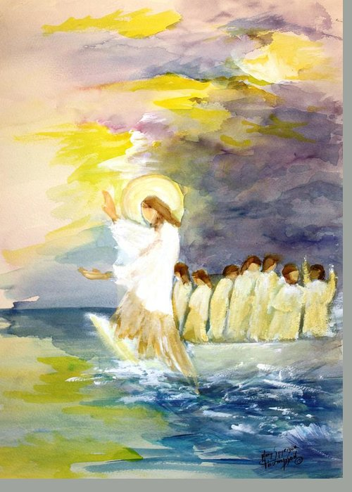 Jesus Greeting Card featuring the painting He Calms The Waters by Mary Spyridon Thompson