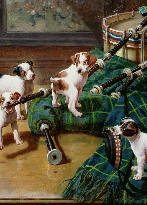He Who Pays The Piper Calls The Tune By John Hayes (fl.1897-1902) Greeting Card featuring the painting He Who Pays The Piper Calls The Tune by John Hayes