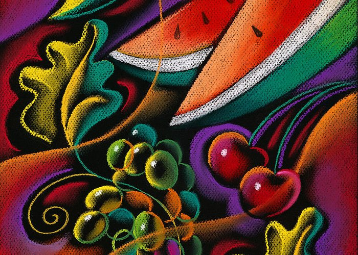 Apple Apples Bounty Diet Eat Eating Exotic Farm Farming Flower Food Fruit Fruits Grape Grapes Grow Growing Growth Harvest Health Healthy Leaves Nutrition Nutritional Oranges Produce Tropical Tropics Variety Decorative Art Abstract Painting Greeting Card featuring the painting Healthy Fruit by Leon Zernitsky